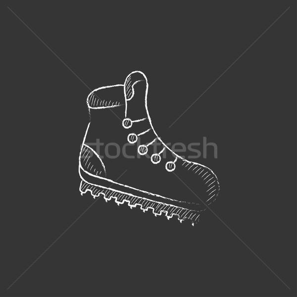Hiking boot with crampons. Drawn in chalk icon. Stock photo © RAStudio