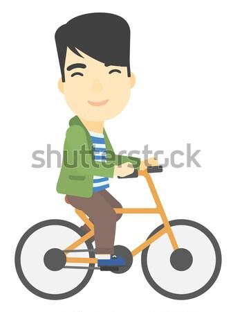 Homem ciclismo trabalhar barba vetor Foto stock © RAStudio