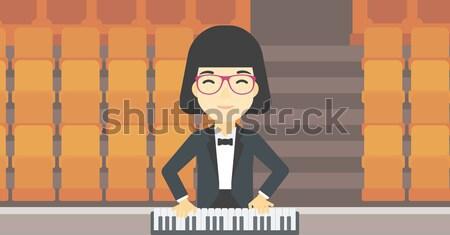 музыканта играет фортепиано женщину пусто театра Сток-фото © RAStudio