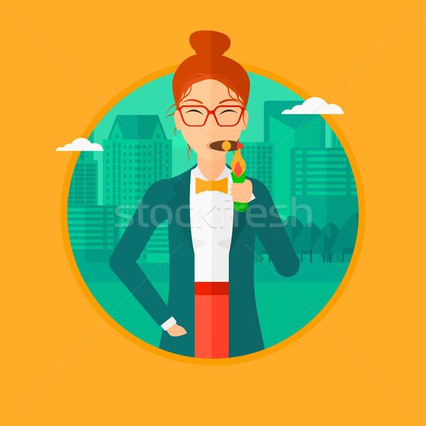 Iş kadını sigara içme puro zengin aydınlatma dolar Stok fotoğraf © RAStudio