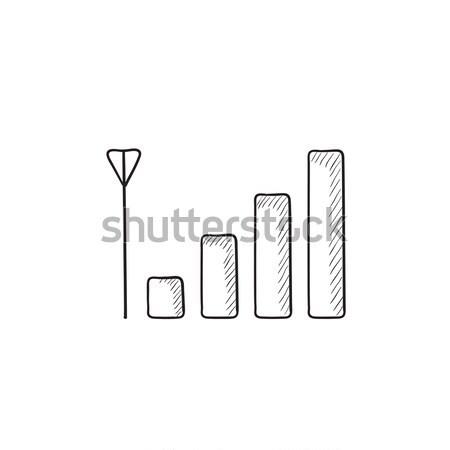 мобильного телефона сигнала знак эскиз икона вектора Сток-фото © RAStudio