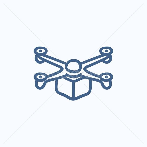 Drone delivering package sketch icon. Stock photo © RAStudio