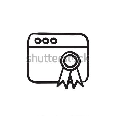 Böngésző ablak nyertesek rajz ikon vektor Stock fotó © RAStudio