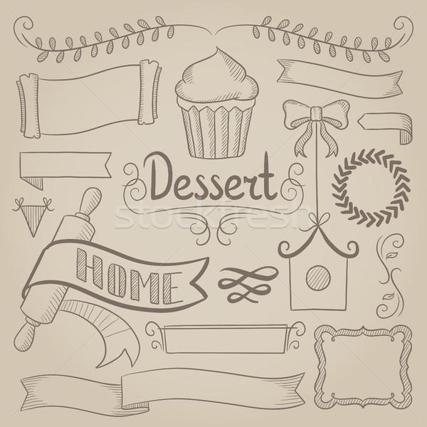 Set of ribbons, frames for bakery menu. Stock photo © RAStudio