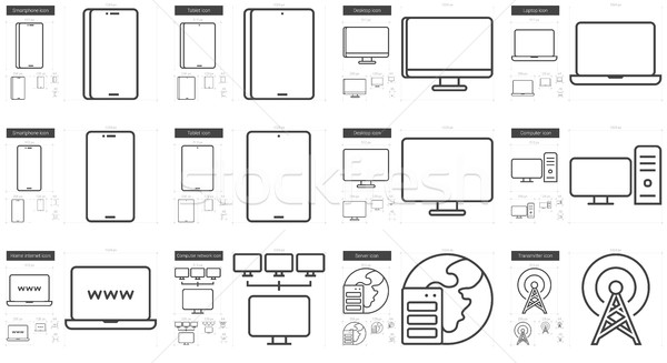 Gadgets line icon set. Stock photo © RAStudio