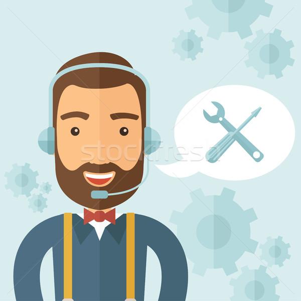 Technische ondersteuning agent call center ondersteuning ontwerp Stockfoto © RAStudio