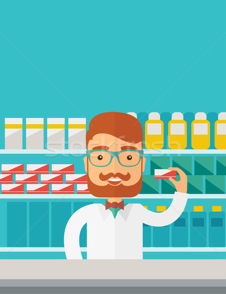 小さな 薬局 化学者 男 立って ドラッグストア ストックフォト © RAStudio