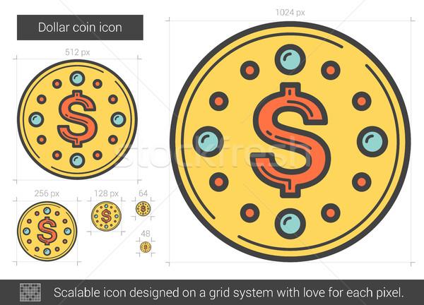 Dollar coin line icon. Stock photo © RAStudio