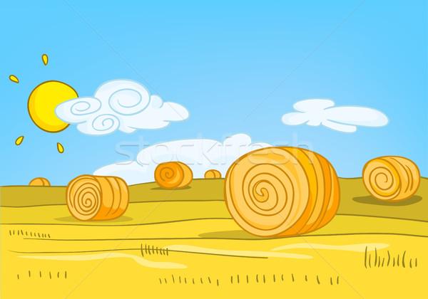 Cartoon background of field with straw bales. Stock photo © RAStudio