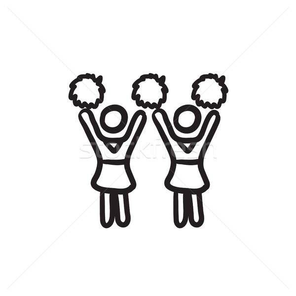 Cheerleaders sketch icon. Stock photo © RAStudio