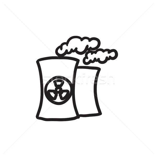 Stock fotó: Nukleáris · erőmű · rajz · ikon · vektor · izolált