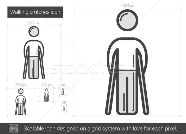 Sétál mankók vonal ikon vektor izolált Stock fotó © RAStudio