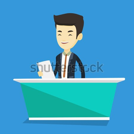Television anchorman at studio vector illustration Stock photo © RAStudio