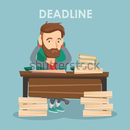 Business woman having problem with deadline. Stock photo © RAStudio