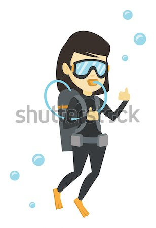 Donna diving scuba segno Foto d'archivio © RAStudio