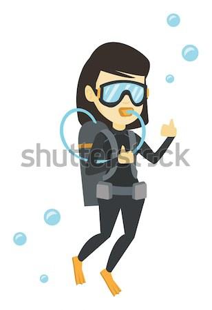 Femme plongée Scuba signe Photo stock © RAStudio