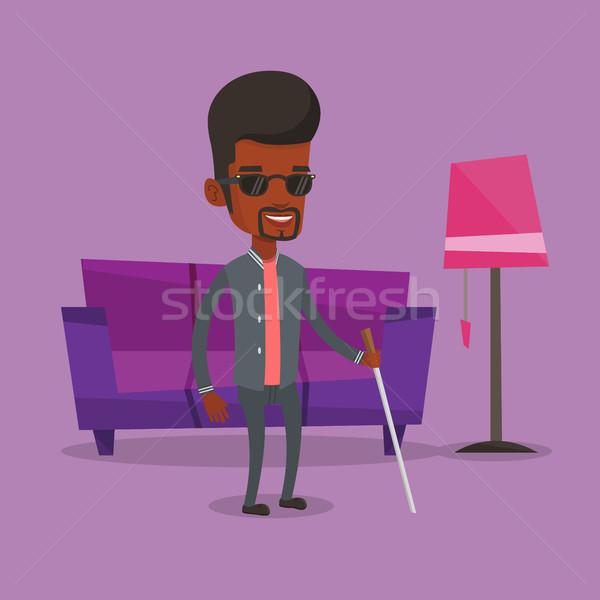 Blind man with stick vector illustration. Stock photo © RAStudio
