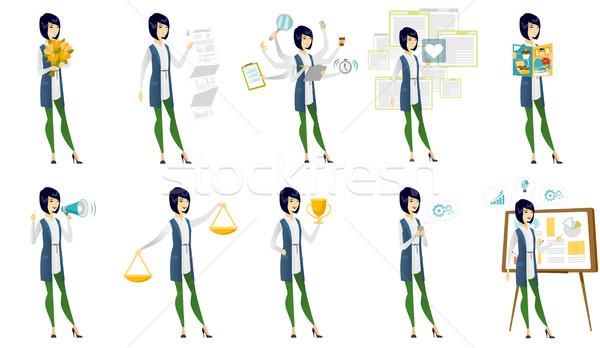 ベクトル セット イラスト ビジネスの方々  アジア ビジネス女性 ストックフォト © RAStudio