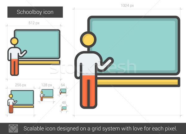 Stockfoto: Schooljongen · lijn · icon · vector · geïsoleerd · witte