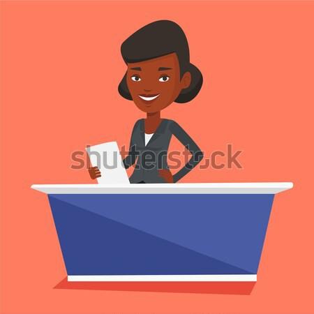 Television anchorwoman at studio. Stock photo © RAStudio