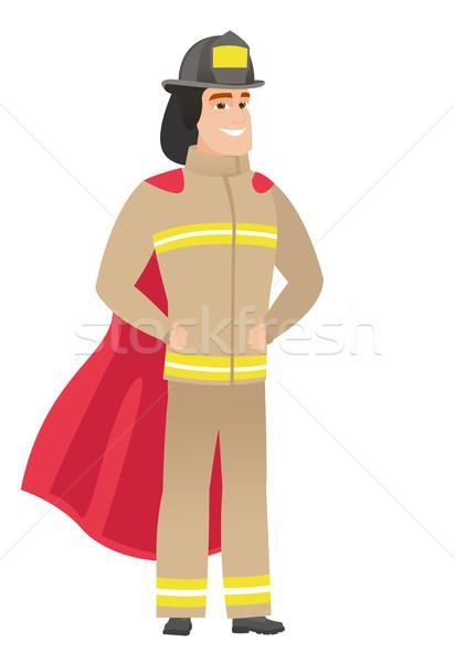 Tűzoltó visel piros szuperhős köpeny teljes alakos Stock fotó © RAStudio