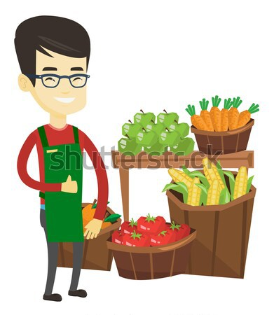 Customer with shopping cart vector illustration. Stock photo © RAStudio