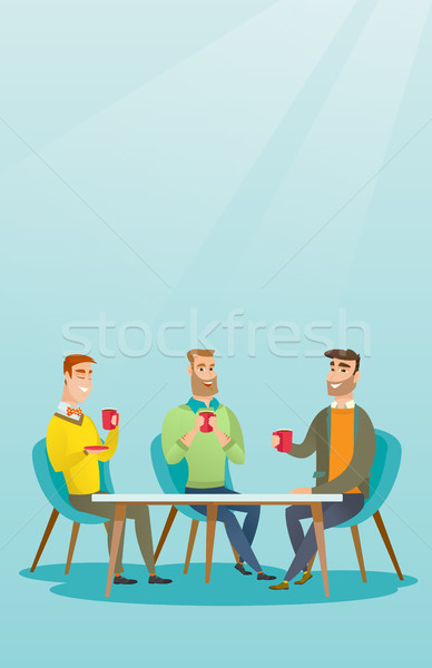 Group of men drinking hot and alcoholic drinks. Stock photo © RAStudio