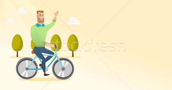 Stock fotó: Fiatalember · lovaglás · bicikli · kaukázusi · férfi · park