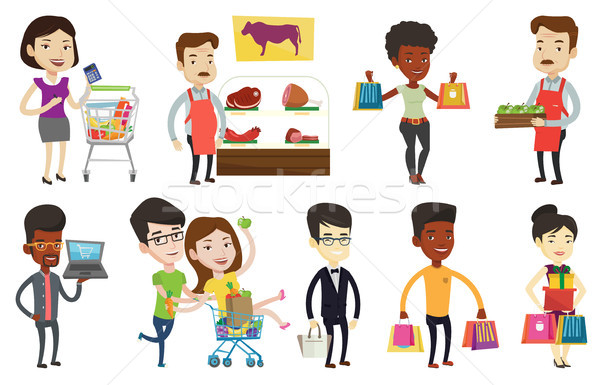 Stock photo: Vector set of shopping people characters.