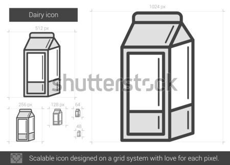 молочная линия икона вектора изолированный белый Сток-фото © RAStudio