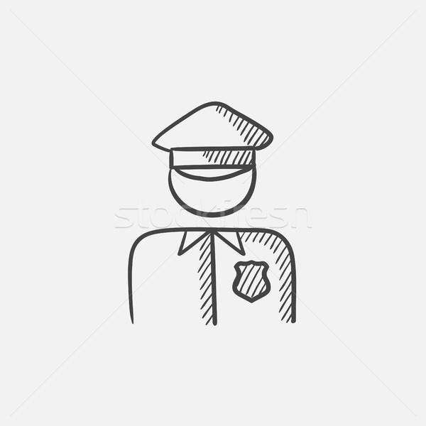 Policjant szkic ikona internetowych komórkowych infografiki Zdjęcia stock © RAStudio