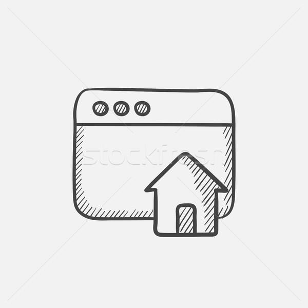 ホームページ スケッチ アイコン ブラウザ ウィンドウ ホーム ストックフォト © RAStudio