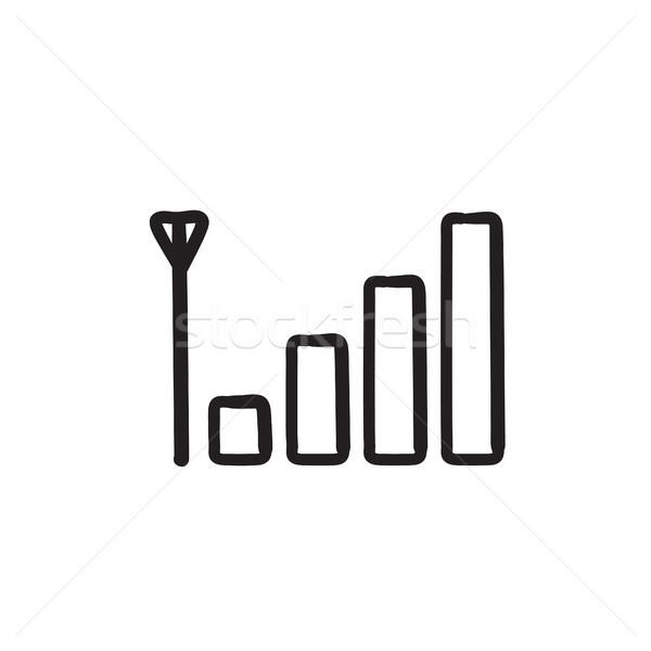 Téléphone portable signal signe croquis icône vecteur Photo stock © RAStudio