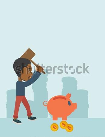 Woman breaking piggy bank vector illustration. Stock photo © RAStudio