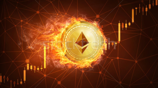 Ethereum coin in fire with bull stock chart. Stock photo © RAStudio