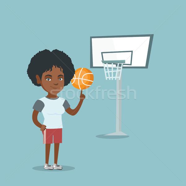 Fiatal afrikai kosárlabdázó labda ujj profi Stock fotó © RAStudio