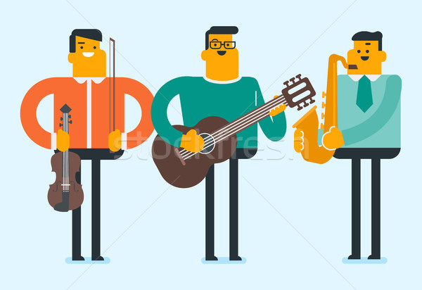Band of musicians playing the musical instruments. Stock photo © RAStudio