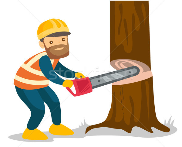 Caucasian white woodcutter working with a chainsaw Stock photo © RAStudio