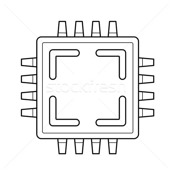 Computer cpu chip line icona vettore Foto d'archivio © RAStudio