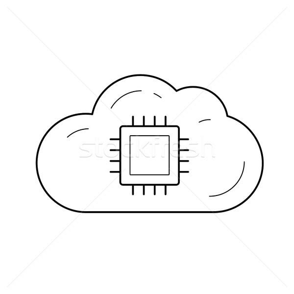 Nube memorizzazione dei dati line icona vettore isolato Foto d'archivio © RAStudio