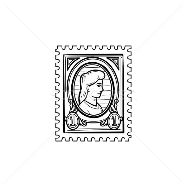 филателия рисованной эскиз икона болван Сток-фото © RAStudio