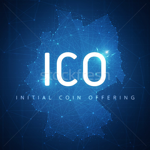 ICO initial coin offering banner with Germany map. Stock photo © RAStudio