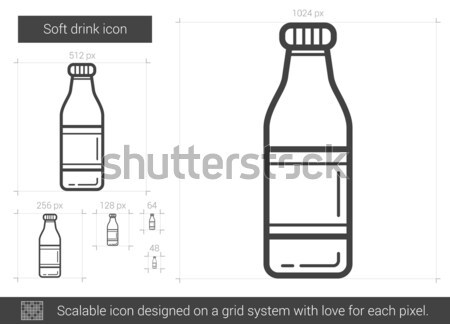 Bottle of soft drink vector line icon. Stock photo © RAStudio