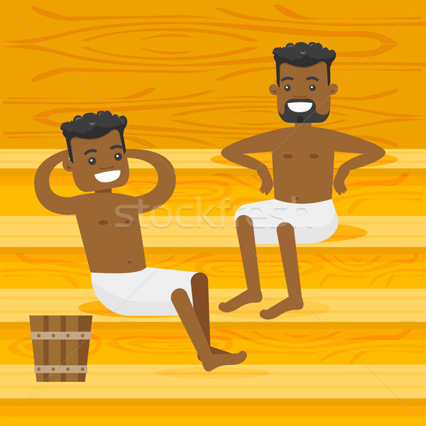 Young african-american men relaxing in the sauna. Stock photo © RAStudio