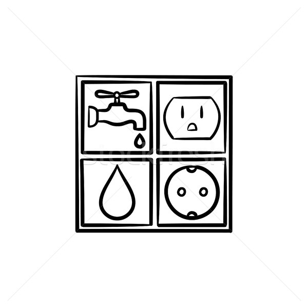 Electricity and water signs hand drawn sketch icon Stock photo © RAStudio