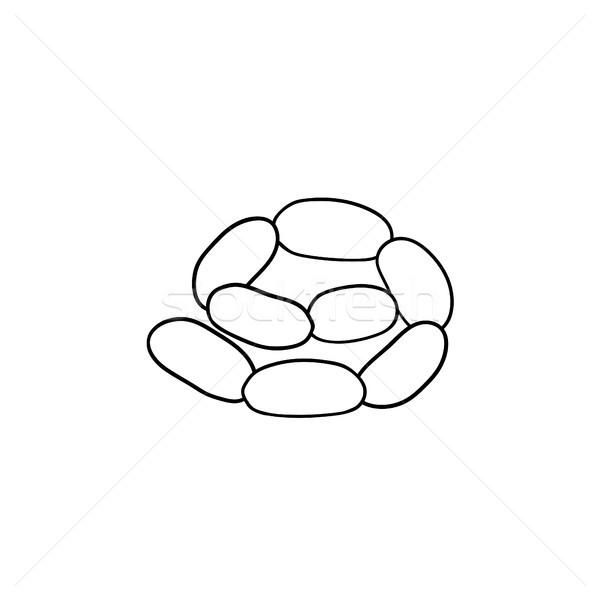 Foto stock: Salchicha · cadena · dibujado · a · mano · boceto · icono