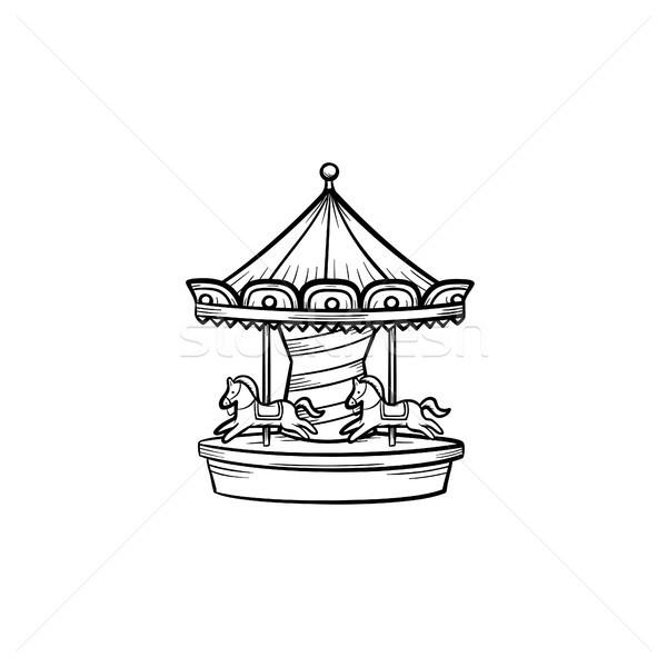 Merry-go-round carousel hand drawn outline doodle icon. Stock photo © RAStudio