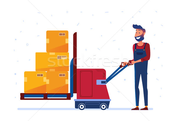Warehouse worker is loading boxes with electric lifter Stock photo © RAStudio