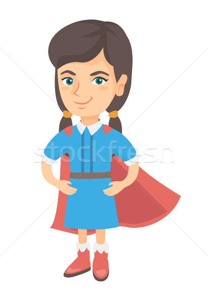 Caucasian brave girl wearing superhero costume. Stock photo © RAStudio