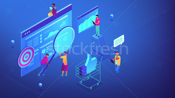 Isometric digital marketing strategy team illustration. Stock photo © RAStudio